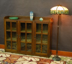 Lifetime Furniture, Grand Rapids Bookcase & Chair Company three door bookcase with keyed tenons.
