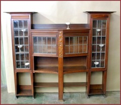 Large Liberty & Co Carved Mahogany display cabinet