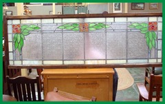 Large Vintage Arts & Crafts Stained Glass Window with Mackintosh Style Roses