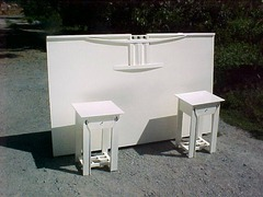 ...(ITEM RETIRED)...Mackintosh inspired  custom bed and matching nightstands
