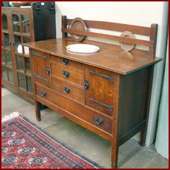 Gustav Stickley Original Buffet Sideboard with Hammered Copper Strap Hinges.