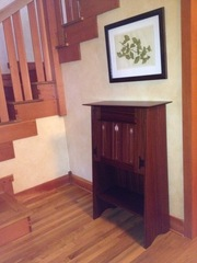 Mahogany Accurate Replica Gustav Stickley Ellis designed inlaid drop-front desk.