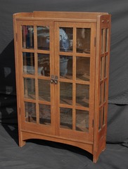 Gustav Stickley China Cabinet model 815  arched apron excellent original finish signed