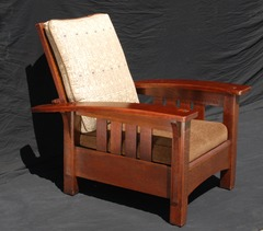 Original Vintage L & J G Stickley Bow Arm Morris Chair with Slats Model #406
