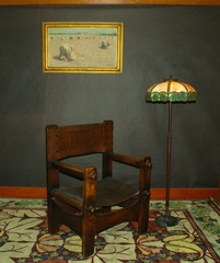 Rare Early Charles Limbert large arm chair with sling seat    Stickley era