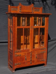 Very Rare Early Stickley Brothers China Cabinet, mint original finish, signed.