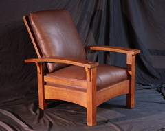 Gustav Stickley Bow Arm Morris Chair, signed.