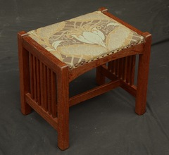 Original L J G Stickley spindle footstool, signed  L J G Stickley Handcraft. 1906 to 1912
