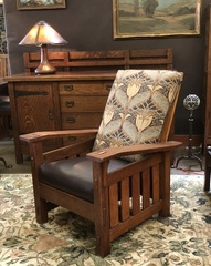 Quaint Art Large Vintage Morris Chair with leather seat and Arts and Crafts Fabric on back cushion Stickley Era