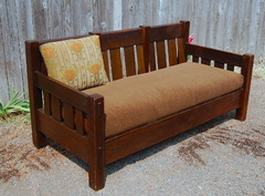 Stickley Brothers large settle with comfortable canted back and large through tenons