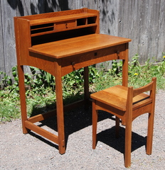 Limbert writing desk and chair, excellent original finish.  Both signed.