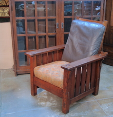 L. & J. G. Stickley Onondaga Large Morris Chair, fine original finish.