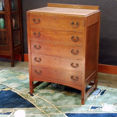 Limbert Mission Oak Arts & Crafts highboy chest dresser with 5 drawers, signed in top drawer