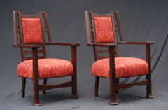 Pair of Arts and Crafts large chairs, attributed to Karpen Furniture Co.  Refinished, fabric replaced over original springs.