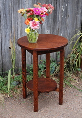 Arts and Crafts oak lamp table.
