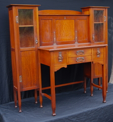 Fine Arts and Crafts Drop Front Secretary Bookcase. Excellent original finish. European. Stickley era.