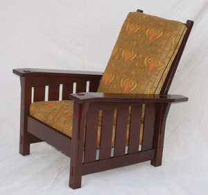Gustav Stickley replica large slant arm Morris chair