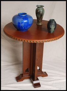 Limbert's Secessionist cut-out table with tacked leather top accurate replica