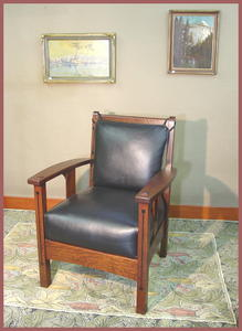 Limbert Ebon Oak Inlaid Arm Chair Accurate Replica