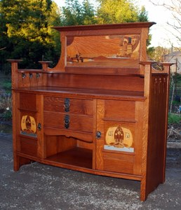 Scottish Arts & Crafts inlaid oak sideboard