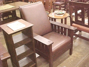Vintage L.&J.G. Stickley Reclining Morris Chair with Slats
