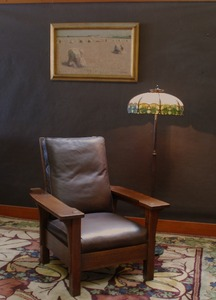 Original L. & J.G. Stickley Paddle Arm large Morris Chair, original finish, signed Handcraft, period 1906 to 1912
