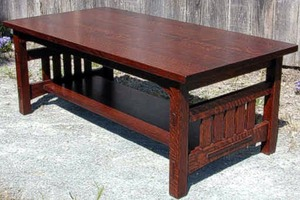 Coffee Table with Slats on each end and two Thru-Tenons on each leg.