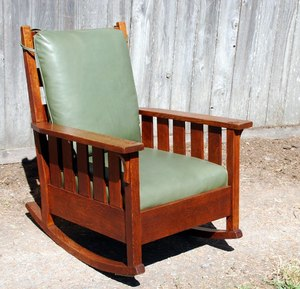 Gustav Stickley large rocker with slats & back cushion.
