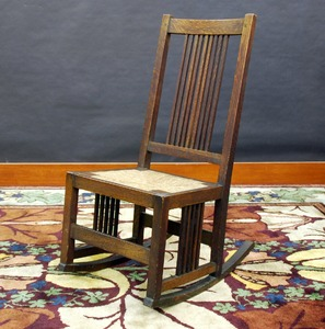 Gustav Stickley spindle sewing rocker in fine original finish, model 377, signed red decal.