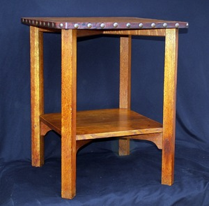 Gustav Stickley clip-corner lamp table in excellent original finish, original tacks, signed.