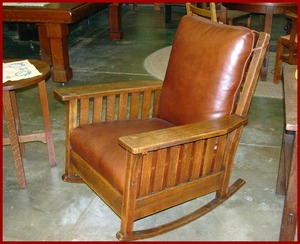 Large L.& J.G. Stickley Original Slatted Rocker.