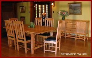 ...(ITEM RETIRED)...   Greene and Greene Style Custom Cherry and Ebony Dining Table with Two Leaves.