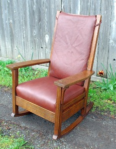 High Back L & JG Stickley rocker, Handcraft period