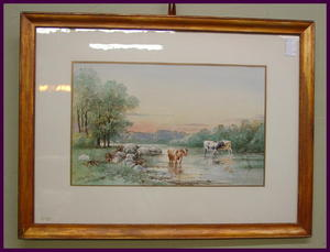 Bertha Hewit Woolrych Framed Watercolor, Landscape with Cows. Listed Artist.