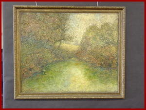 Large Impressionist Landscape Oil Painting on Canvas by Sidney Peles