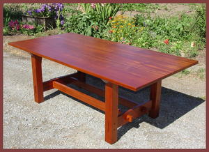 Gustav Stickley Inspired Mahogany and Ebony Custom Dining Table with Leaves