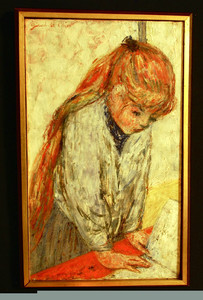 GIROD DE L'AIN OIL PAINTING CANVAS FRENCH ENFANT LISANT 1959 PARIS FRANCE LISTED EXHIBITION SALON DES INDEPENDANTS 1959 EXPRESSIONNISTES