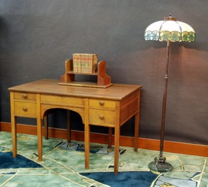 Vintage L & J G Stickley 8 leg desk with extra deep drawers and original key, signed.