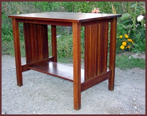 Original Gustav Stickley Rare Spindle Library Table