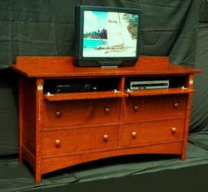 Custom Gustav Stickley Harvey Ellis Inspired Inlaid Dresser Entertainment Center