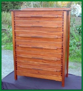 Custom Greene & Greene Style Mahogany and Ebony Highboy Dresser