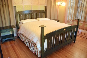 Custom English Influenced Inlaid King Bed in Green Stain