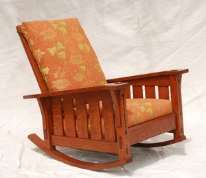 Slant Arm Gustav Stickley inspired Morris Rocking Chair with Limbert style ebony inlay