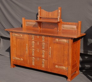 Rare Early Stickley Brothers Sideboard with Unusual Reticulated hardware