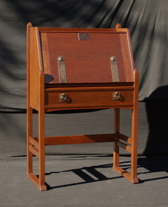 Rare Early Stickley Brothers drop front desk with hammered straps and drawer pull