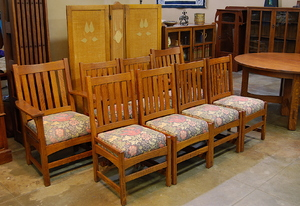 Original Vintage Set of eight  L J G Stickley Dining chairs including 2 arm chairs