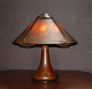 Large Early Dirk Van Erp 3 socket rivet base hammered copper and mica table lamp. Closed box signature.