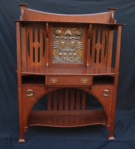 Vintage Arts and Crafts Sideboard Server Cabinet.  United Kingdom. Circa 1890.