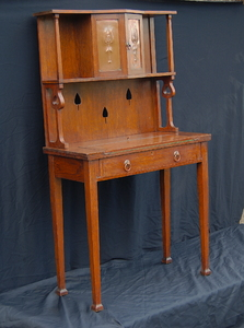 Vintage Arts and Crafts drop front secretary desk. United Kingdom. 1890 to 1910.