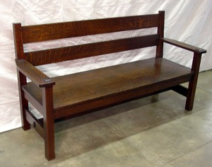 Early and Rare Uncatalogued Original Signed Gustav Stickley Settle.